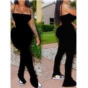 Lovely Sexy Fold Design Black One-piece Jumpsuit